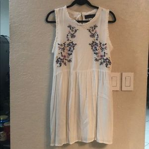 White Floral Embroidered Sundress